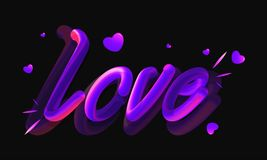 Glossy purple lettering of love with tiny hearts on shiny black royalty free illustration