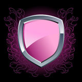 Glossy purple shield emblem Royalty Free Stock Photos