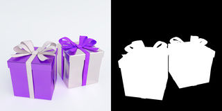 Glossy purple and white gifts isolated with alpha mask. 3D render. Royalty Free Stock Image