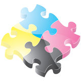 Glossy Puzzle Pieces. Puzzle pieces with a glossy appearance. The vector version has two layers of gloss that can be deleted should you want a more matte look Royalty Free Stock Photo