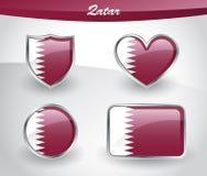 Glossy Qatar flag icon set Royalty Free Stock Images