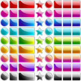 Glossy rainbow buttons. Set of 9 glossy rainbow web blank buttons - illustration Stock Photos