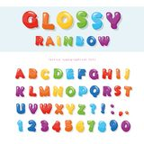 Glossy rainbow colored font design. Festive ABC letters and numbers. Vector illustration royalty free illustration