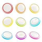 Glossy rainbow colored plastic round buttons. Set of nine isolated on white royalty free illustration