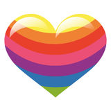 Glossy rainbow colour heart Stock Photo