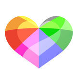 Glossy rainbow colour heart Stock Images