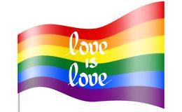 The glossy rainbow flag is a symbol of pride lgbt and lgbtq with the text love is love. Gay lesbian rainbow wave background. The glossy rainbow flag is a symbol vector illustration