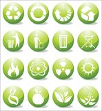Glossy recycle icons Stock Photos