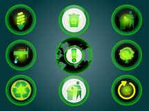 Glossy recycle icons set Royalty Free Stock Photos