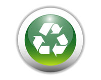 Glossy Recycling Icon Button Stock Photo