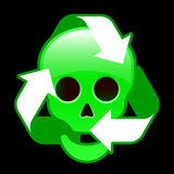 Glossy recycling icon with skull Royalty Free Stock Photo
