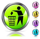 Glossy recycling sign button Stock Photo
