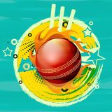 Glossy red ball in fire flame for Cricket. Royalty Free Stock Photos