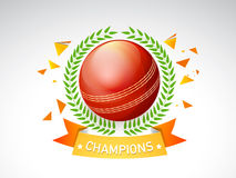 Glossy red ball with laurel wreath for Cricket. Stock Photo