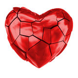 Broken heart glossy red symbol. Breaking red heart cracks all around. Bad feeling, end of relationship, grief or disappointment Royalty Free Stock Photos