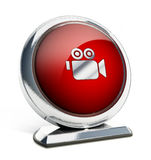 Glossy red button with camera symbol. 3D illustration.  Royalty Free Stock Photos