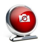 Glossy red button with camera symbol. 3D illustration.  Royalty Free Stock Photo