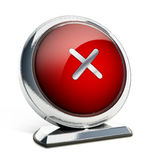 Glossy red button with cross symbol. 3D illustration.  Stock Photography