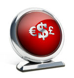 Glossy red button with currency symbols. 3D illustration. Glossy red button with Euro, Dollar and Pound symbols. 3D illustration Stock Photography