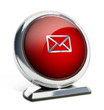 Glossy red button with enveloppe symbol. 3D illustration.  Royalty Free Stock Photo