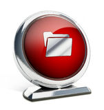 Glossy red button with folder symbol. 3D illustration Royalty Free Stock Image