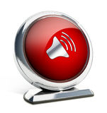 Glossy red button with speaker symbol Royalty Free Stock Photo