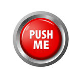Glossy red button with words `Push Me` Stock Images