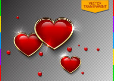 Glossy red 3d heart in golden frame and light effect on transparent background. Transparency in additional format only. Valentine`s Day Greeting Card element stock illustration