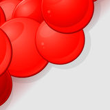 Glossy red 3D spheres background. Red Glossy 3D Spheres Over Grey Background Stock Image
