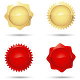 Glossy Red and Gold Seals Royalty Free Stock Photography