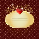 Glossy red heart card Stock Images