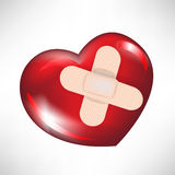 Glossy red heart with crossed bandages Stock Photography