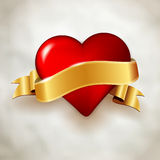 Glossy red heart and golden ribbon on paper background Royalty Free Stock Photo