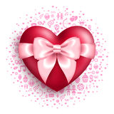 Glossy red heart with pink bow with love symbols Royalty Free Stock Photos
