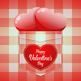 Glossy red heart in pocket with Happy Valentine`s day word Stock Photo