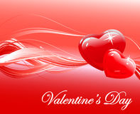 Glossy Red heart Valentines day background vector Stock Photos