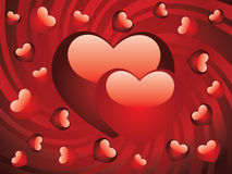 Glossy red hearts stock image