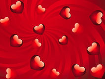 Glossy red hearts background Stock Images