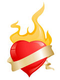 Glossy red hearts with ribbon and fire. For valentine's day Royalty Free Stock Photo