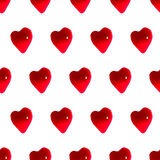 Glossy red hearts seamless pattern background Royalty Free Stock Image