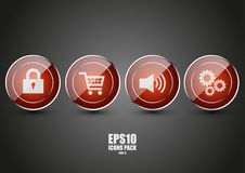 Glossy red icons part 6. Glossy red icons with texture part 6 Stock Photo