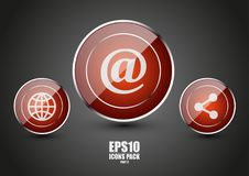 Glossy red icons part 3. Glossy red icons with texture part 3 Stock Photography