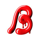 Glossy red letter B uppercase. 3D rendering Royalty Free Stock Photography