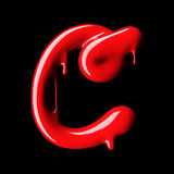 Glossy red letter C uppercase. 3D rendering Stock Photo