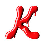 Glossy red letter K uppercase. 3D rendering Stock Images