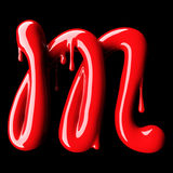 Glossy red letter M uppercase. 3D rendering Stock Photos
