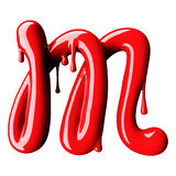Glossy red letter M uppercase. 3D rendering Stock Photography