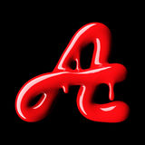Glossy red letter A uppercase. 3D rendering Stock Images