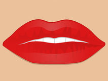 Glossy red lips Stock Photography