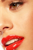 Glossy Red Lips royalty free stock photos